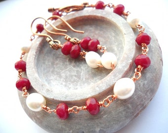 Ruby and pearl copper bracelet with earrings: Will You Be Mine - ruby bracelet, july birthstone, july birthday gift, ruby jewelry set