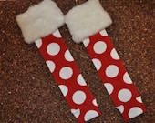 Baby Legs Infant / Toddler Leg Warmers - Red with White Polka Dots and Faux Fur Trim - Great for Christmas / Holiday Season - In Stock and Ready to Ship