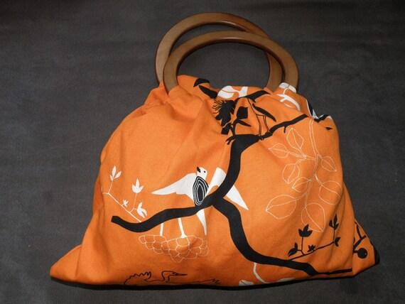 Cotton Hobo Bag in Orange Print