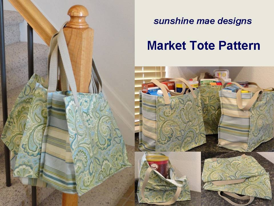 pdf pattern reusable grocery market tote bag