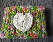 Crochet Coffee Cup Cozy - Spring Ombre with White Heart