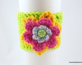 Crochet Coffee Cup Sleeve - Lime Green with Yellow, Hot Pink and Gray Flower