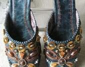 ON SALE Vintage Ferlisa Leather Slip On Shoes BEJEWELED Sz 38