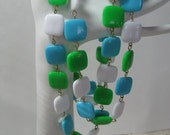 Vintage Turquoise Grass Green and White Plastic Maybe Thermoset 24 Inch Necklace