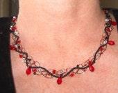 Red Swarovski Crystal Teardrop Wire Crochet Necklace