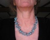 Mauve and Aqua Cat's Eye Wire Crochet Necklace