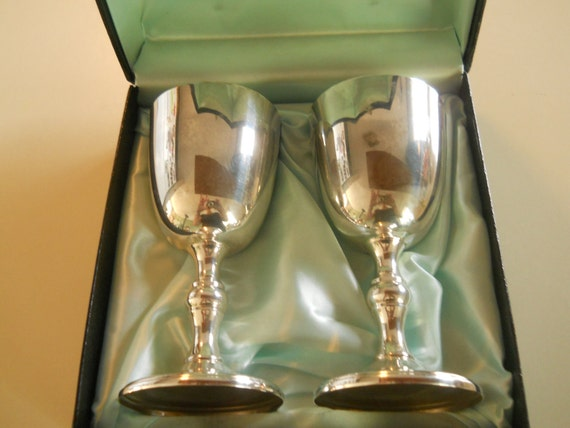 Vintage pair silverplate goblets 1950s anniversary gift for Burke and wallace silversmiths