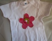 Flower Applique Baby Girl Onesie  --  Choose Color  --  Matching Onesie to Ruffle Bloomer Set