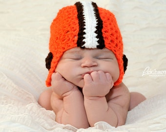 Cleveland Browns Football Hat - Browns Baby - baby football team - Cleveland Browns Hat - Orange Brown White - baby boy photo prop