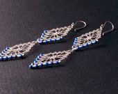 Double Evil Eye - Sterling Silver Earrings with Lapis Beading