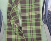 Green Brown and Khaki Plaid Fringed Scarf