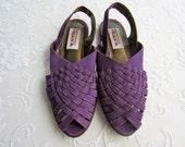 Vintage Purple Woven Suede Sling Back Sandal Flats, Women's Size 9B