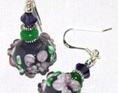 Purple Flower Lampwork bead earrings with Swarovski