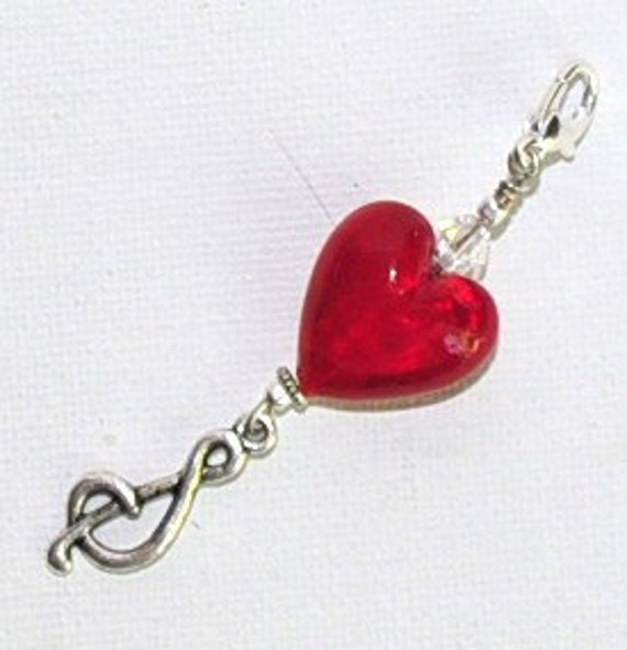 Heart Lampwork bead music note purse jewerly/zipper pull/keychain