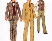 1974 Vintage Men's 3-Button Suit with Back Vent, Flat Front Pants and 5-Button Vest, Simplicity 6374, Size 40, Uncut
