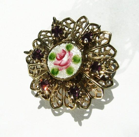 1940s-50s Vintage Handpainted Guilloche Enamel Filligree Pin/Pendant with Amethyst Rhinestones