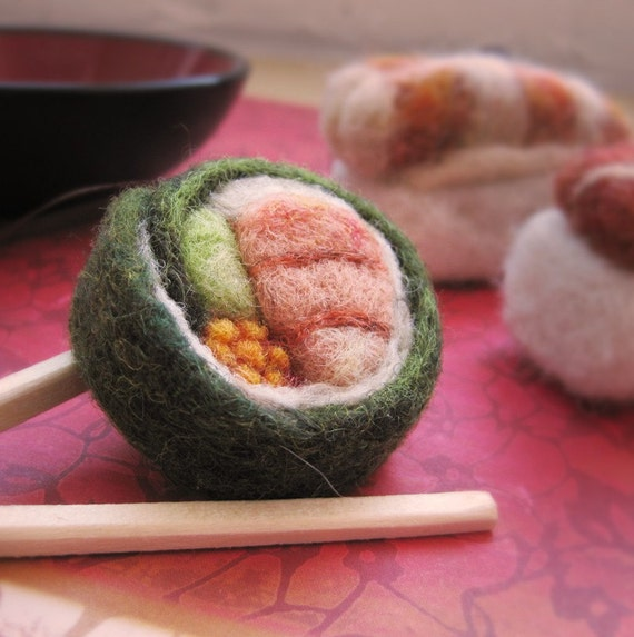 Needle Felted California Roll Ornament
