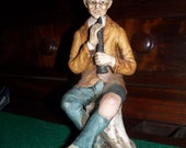 Figurine  Statuette Old Man playing Clarinet