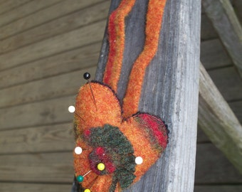 Wool pincushion felted handmade pin cushion multi colored heart shaped w/flower Ties blanket stitch.