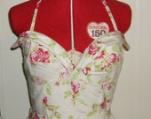 Ready To Ship Audrey Hepburn Style 50's White Retro Rockabilly Pinup  Halter Sundress W/ Red and Pink Roses