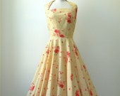 vintage 1950s Dress // Jerry Gilden Floral Print Halter Dress