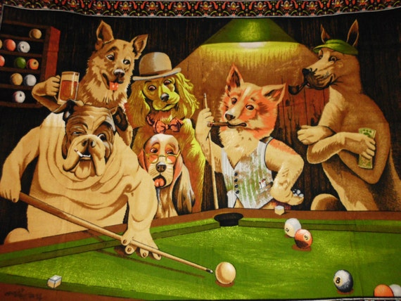 Vintage Dogs Playing Pool and Gambling Wall Tapestry  40 x 55  Excellent Condition
