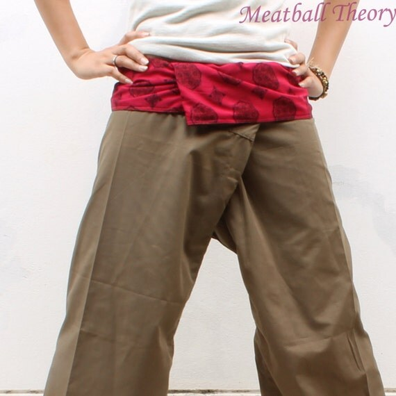 red  print on waist and brown Cotton Thai Fisherman Pants M-L