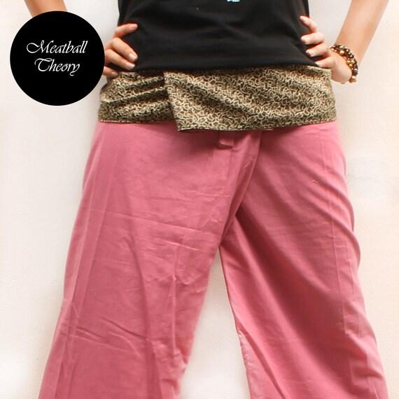 brown graphic print  on waist and rose pink  cotton Thai fisherman capri pants 2 tone,size S-XL,unisex pants