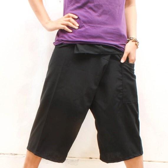 Black Cotton Thai Fisherman Capri Pants