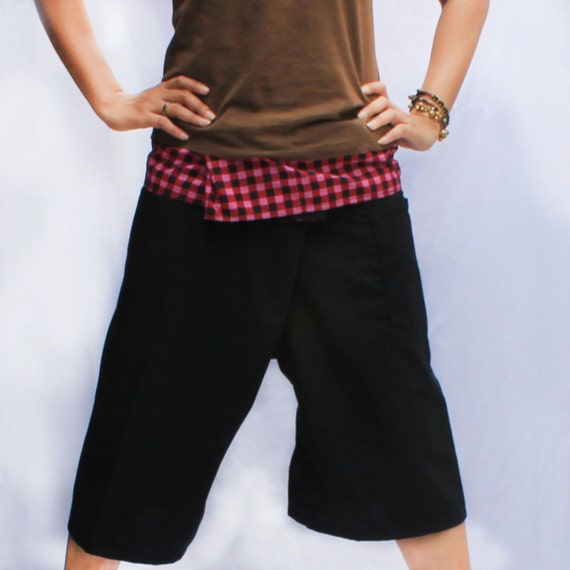pink plaid on waist  and black  Cotton Thai Fisherman Capri Pants 2 tone,size S-XL,unisex pants