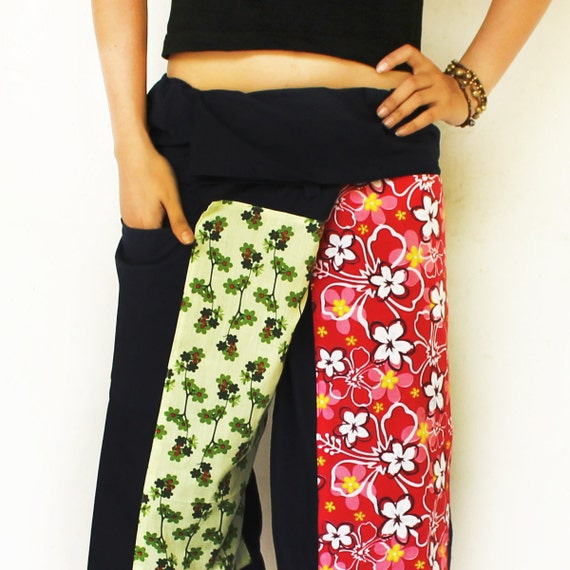many flowers on front and dark gray cotton thai fisherman capri pants 2 tone L
