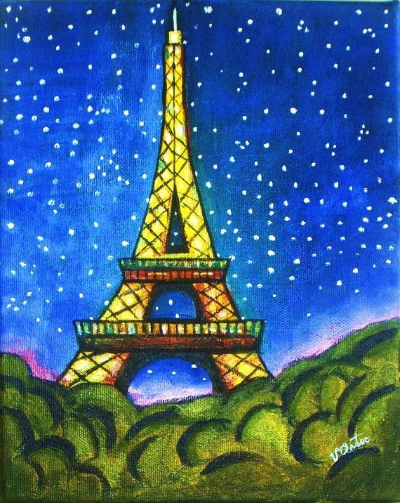 Eiffel Tower in Starry Night Original Acrylic Gallery Eiffel Tower Painting Landscape