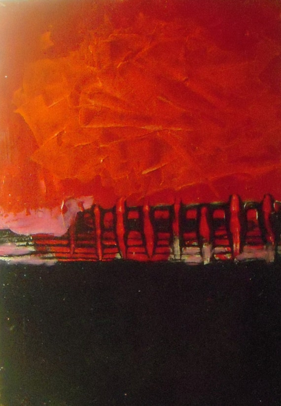 """Before a Performance - Original Abstract Painting - acrylic on paper - 5""""x7"""" - matted - ready to frame"""