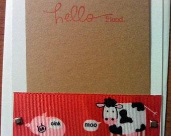 Cow and Pig Friendship Cards - Set of 6