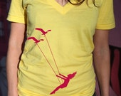 Womens Flying bird swing Deep V Neck t shirt, american apparel sunshine yellow t shirt, XXS -L  WorldWide Shipping