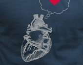 Mens heart thinking heart t shirt-american apparel asphalt gray - available in s, m, l, xl, xxl- WorldWide Shipping