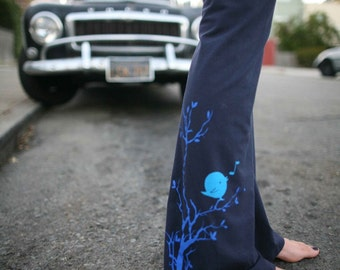 women's Yoga Pants, stretch cotton with songbird- available in S, M, L, XL, XXL - Navy and Black-Custom length- WorldWide Shipping