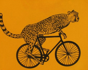 Mens cheetah on a bike t shirt -American Apparel Gold - s, m, l, xl, xxl - Worldwide Shipping