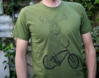 Jackalope on a bike t shirt- american apparel Olive Green- sizes S, M, L and XL- WorldWide Shipping
