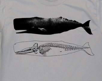 Mens whale and skeleton on mens American Apparel silver t shirt - s, m, l, xl, xxl- Wordwide Shipping