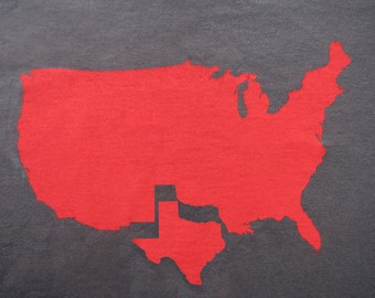 Womens Texas t shirt on american apparel asphalt grey- available in s,m, l, xl- Worldwide shipping