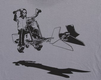 Star Wars easy rider speeder bike on mens t shirt- american apparel slate gray, available in S,M, L ,XL, XXL- WorldWide shipping