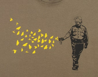 Mens Pepper Spray Cop -butterflies birds on american apparel army  t shirt- , available in S,M, L ,XL, XXL- WorldWide shipping