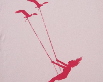 Flying bird swing- Womens Deep V Neck, american apparel light pink t shirt, XXS -L  WorldWide Shipping