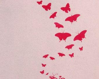 Sale! Bike and butterflies- woman's Deep V Neck, American apparel sunshine light pink t shirt, XXS -L  WorldWide Shipping