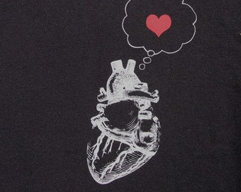 mens heart thinking heart t shirt- american apparel black- available s, m, l,  xl, xxl- WorldWide Shipping