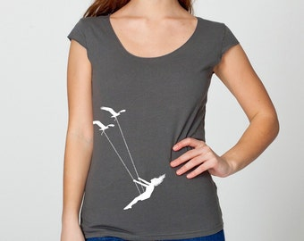 Womens flying bird swing on American Apparel asphalt gray wide neck shirt, capped sleeves, , available in S, M, L, XL- Worldwide Shipping