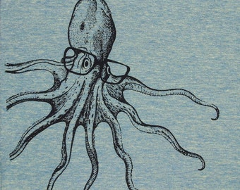 Womens Octopus wearing glasses- on american apparel lemon track t shirt available in S, M, L , XL WorldWide Shipping
