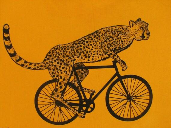 Mens cheetah on a bike t shirt -American Apparel Gold - s, m, l, xl, xxl - Worldwide Shipping