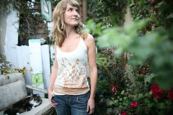 womens racerback tank top, grass nature print- ivory- available in small only - WORLDWIDE SHIPPING